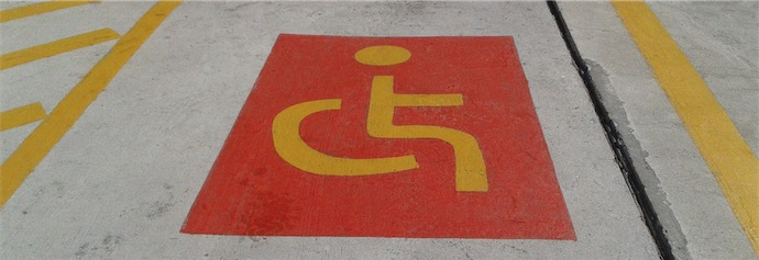 Red-yellow-disabled-parking-s