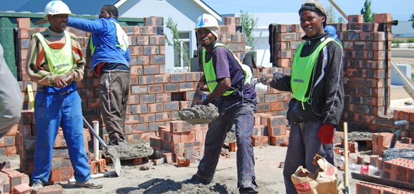 Workers on a building site.