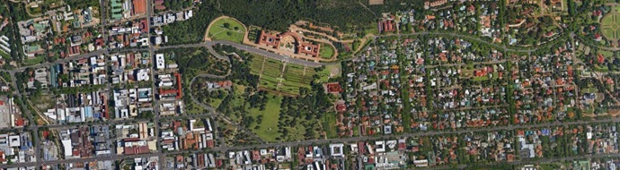 The Union Buildings from above in the Tshwane Municipal area.