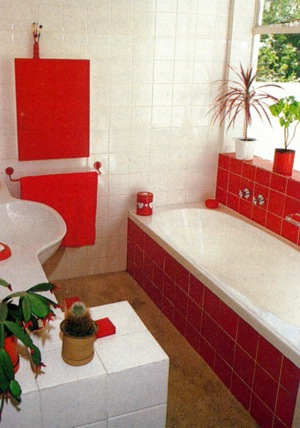 Remodel your bathroom red and white
